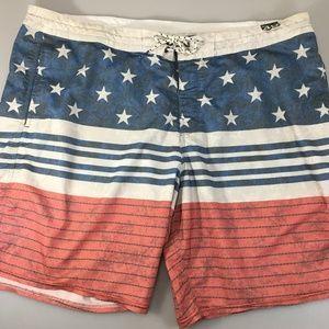 Billabong 40 American Flag Swim Trunks Unlined